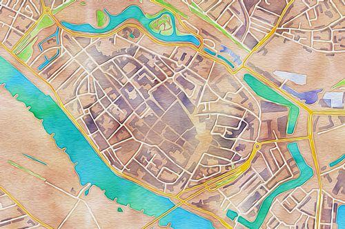 Kleurrijke kaart Deventer van