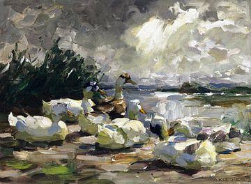 Enten am Ufer (schöne Wolkenstimmung), ALEXANDER KOESTER, 1914 von Atelier Liesjes