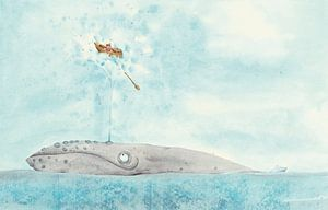 Walvis en bootje op zee van