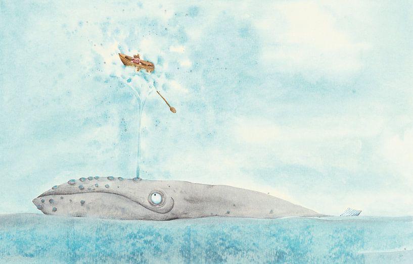 Walvis en bootje op zee van Marieke Nelissen