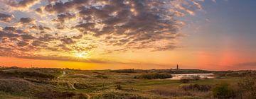 vuurtoren zonsondergang grote panorama van Texel360Fotografie Richard Heerschap