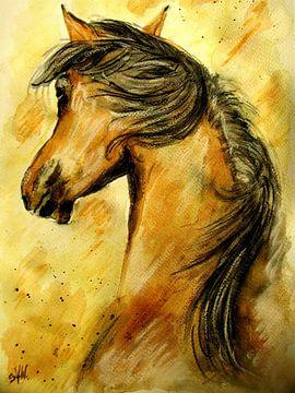 Horse Aquarell van Sandra Vollmann