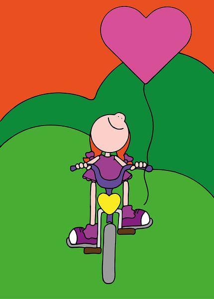 Meisje op fiets - kinderkamer van Annemarie Broeders