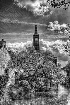 Westsingel en Lange Jan Historisch Amersfoort zwartwit von Watze D. de Haan