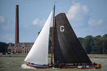 Skûtsje Grou klassieke Fries zeilende Tjalk tijdens het Skutsjesilen van Sjoerd van der Wal