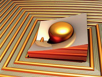 digitale kunst met een bal in een rooster van W J Kok