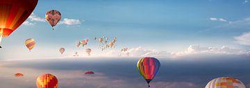 Veel heteluchtballonnen in de lucht van Thomas Heitz