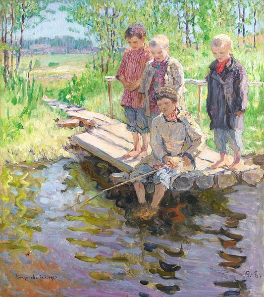 Kleine Jungen, die nach einem Fang suchen, Nikolai Bogdanov-Belsk von Meesterlijcke Meesters