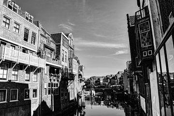 Dordrecht Wijnhaven von Scheffersplein Niederlande Schwarz und Weiß von Hendrik-Jan Kornelis