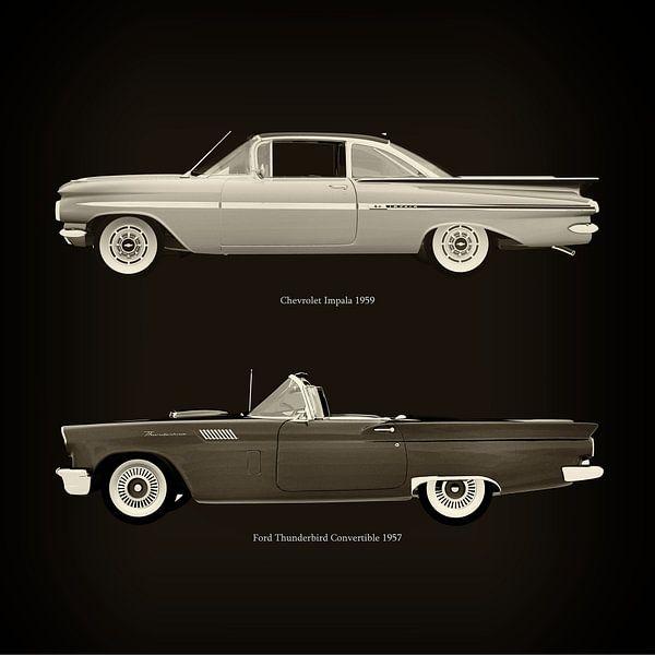 Chevrolet Impala 1959 en Ford Thunderbird Cabriolet 1957 van Jan Keteleer