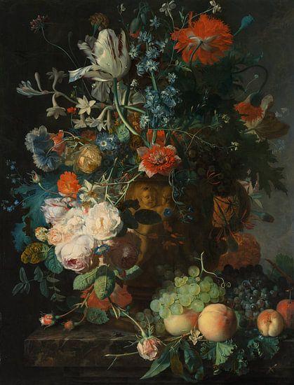 Jan van Huysum. Stilleven met bloemen en vruchten