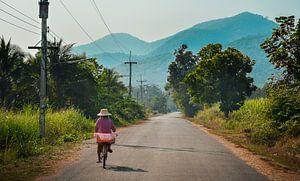 Vrouw fietst over Thaise platteland, Sukhothai