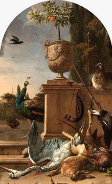 Jachtbuit bij een bordes, Melchior d'Hondecoeter van