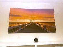 Klantfoto: Belgie - Nieuwpoort - Gouden zonsondergang bij de Pier van Fotografie Krist / Top Foto Vlaanderen, op canvas