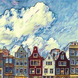 Amsterdamse grachtenhuizen van OFOTO Ray van Schaffelaar
