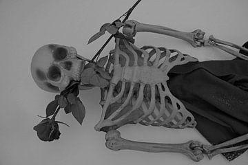 Eeuwige liefde skelet met rode roos in witte sneeuw van Babetts Bildergalerie