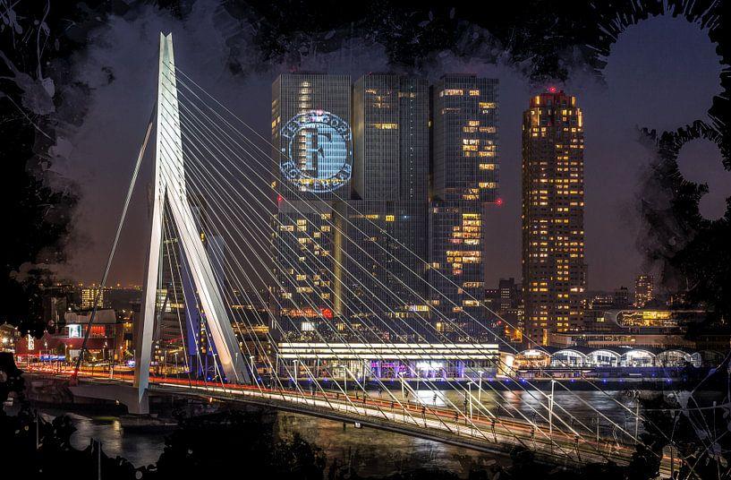 De Erasmusbrug in Rotterdam (Feyenoord ART Editie) van MS Fotografie | Marc van der Stelt