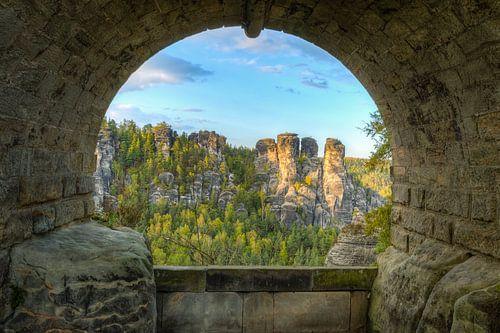 Under the Bastei Bridge in Saxon Switzerland van Michael Valjak