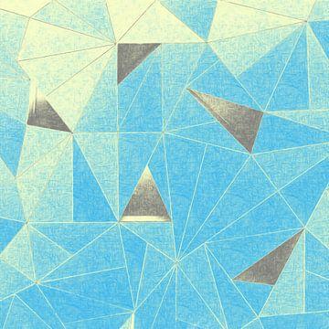 Abstrakte Dreiecke in Blau und Grau von Maurice Dawson