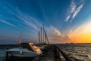 Sonnenuntergang am Hafen Altefähr, Insel Rügen