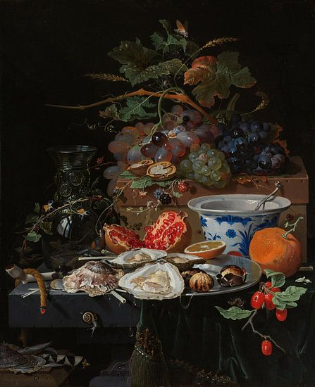Stilleven met fruit, oesters en porselein van Diverse Meesters
