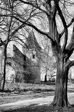 Stadsmuur Achter de Kamp historisch Amersfoort zwartwit sur Watze D. de Haan