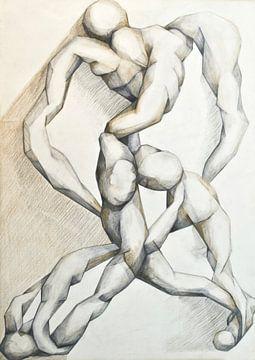 Phantasezeichnung von menschlichen Figuren. von Therese Brals