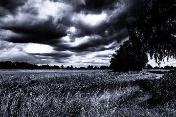 landschap zwart wit dreigende lucht van Frank Ketelaar