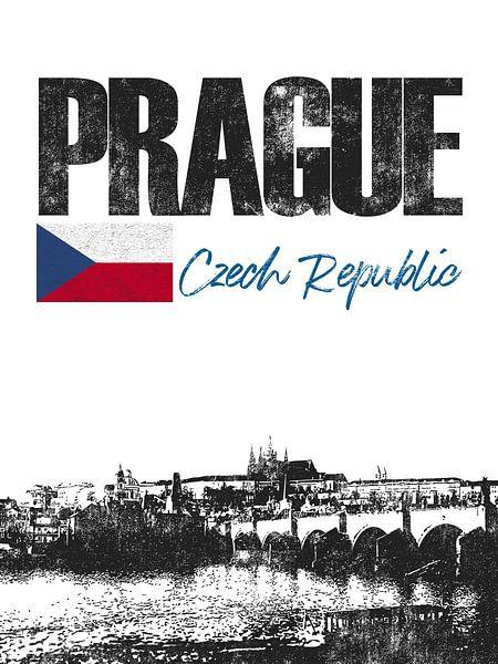 Praag Tsjechische Republiek van Printed Artings