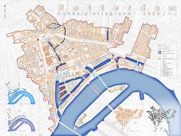 Dubbelplattegrond Rotterdam 1939/NU van Frans Blok