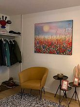 Klantfoto: Schilderij bloemenveld / bloemen van Bianca ter Riet, als print op doek