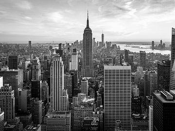 New York City Skyline schwarz-weiß von Marien Bergsma