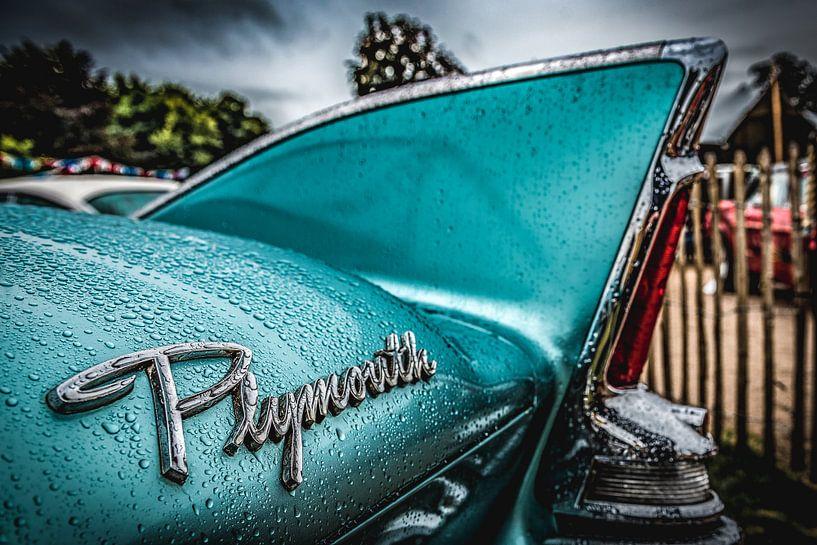 Plymouth vleugel na regen in 50's mintgroen van autofotografie nederland
