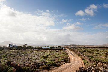 Onverharde weg door dor landschap op Fuerteventura van Peter de Kievith Fotografie