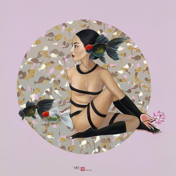 Fish Godess Pink background van Waterside Studio
