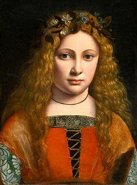 Porträt eines blumengeschmückten Jugendlichen, Giovanni Antonio Boltraffio