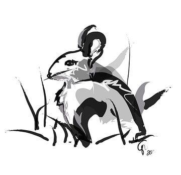 Kaninchen schwarz-weiß von Go van Kampen