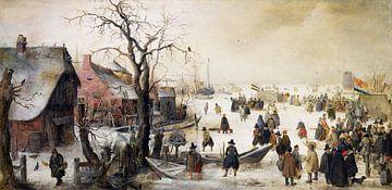 Winterlandschaft an einem Kanal, Hendrik Avercamp