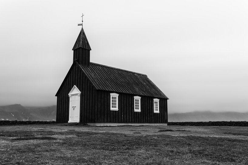 Zwarte kerk Búðakirkja  van Stephan van Krimpen