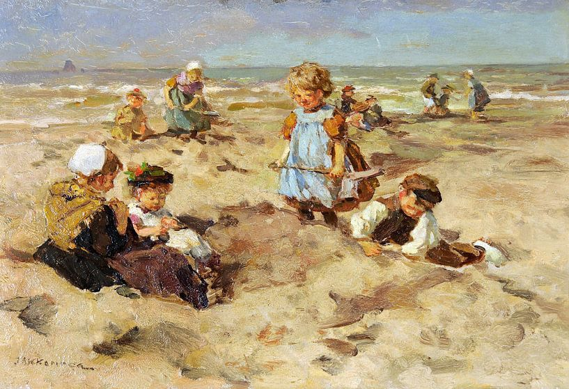 Kinder am Strand - Johannes Akkeringa von Meesterlijcke Meesters
