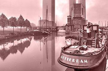 Rotterdam en brouillard - monochrome sur Frans Blok