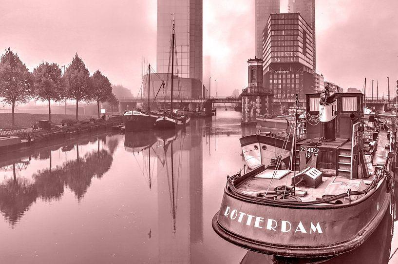 Rotterdam in de mist - monochroom van Frans Blok