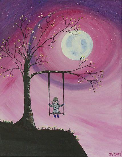 Meisje op schommel  canvas acryl van Jolanda van den berg Thomas