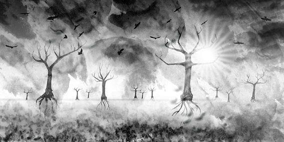 Digital-Art Fantasy Landscape III van Melanie Viola