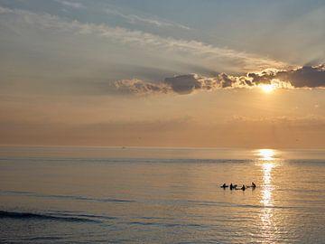 Surfer auf dem Meer bei Scheveningen, Den Haag von Sjoerd van der Hucht
