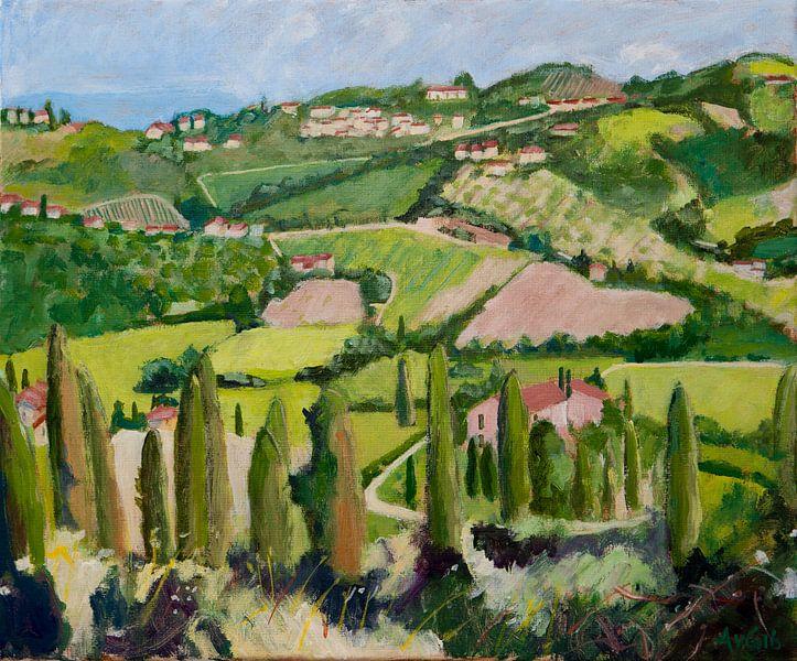 Landschap Carmignano Toscane Italy van Antonie van Gelder Beeldend kunstenaar