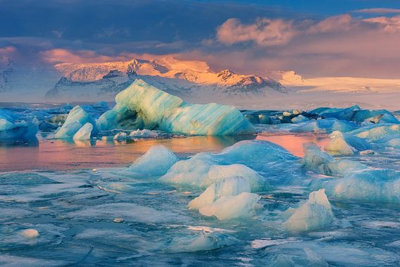 Zonsopkomst Jökulsárlón, IJsland