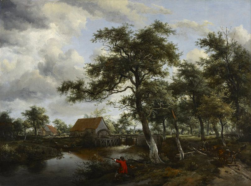 Waldlandschaft mit Wassermühle, Meindert Hobbema von Meesterlijcke Meesters