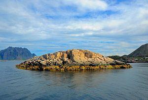 Klein eiland voor de Noorse kust. van