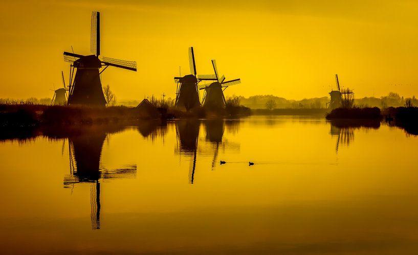 Moulins à vent sur le Kinderdijk sur Freek van Oord